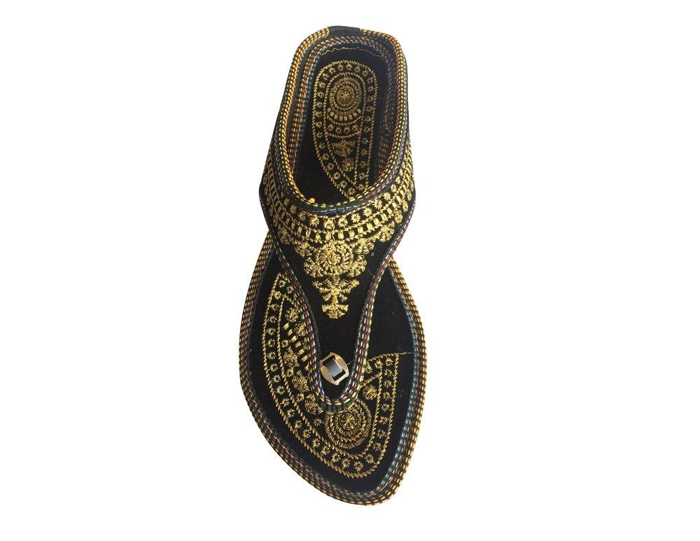 Step n Style Punjabi Jutti indiano scarpe piatto flop flop Khussa scarpe Jaipuri sandali, Nero (Black), 36.5