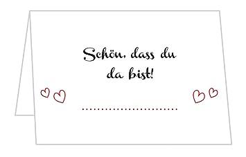 Sellerrocket 50 Stück Tischkarten Hochzeit Tischkarten Für Geburtstag Taufe Kommunion Und Konfirmationschön Dass Du Da Bist Platzkarten Mit