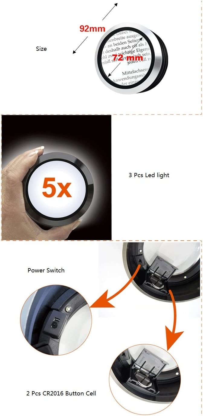 Black Oande Domed Paperweight Magnifier Mirror Round Shape Hd Magnifying Glass for Map Magnifying and Reading Aid
