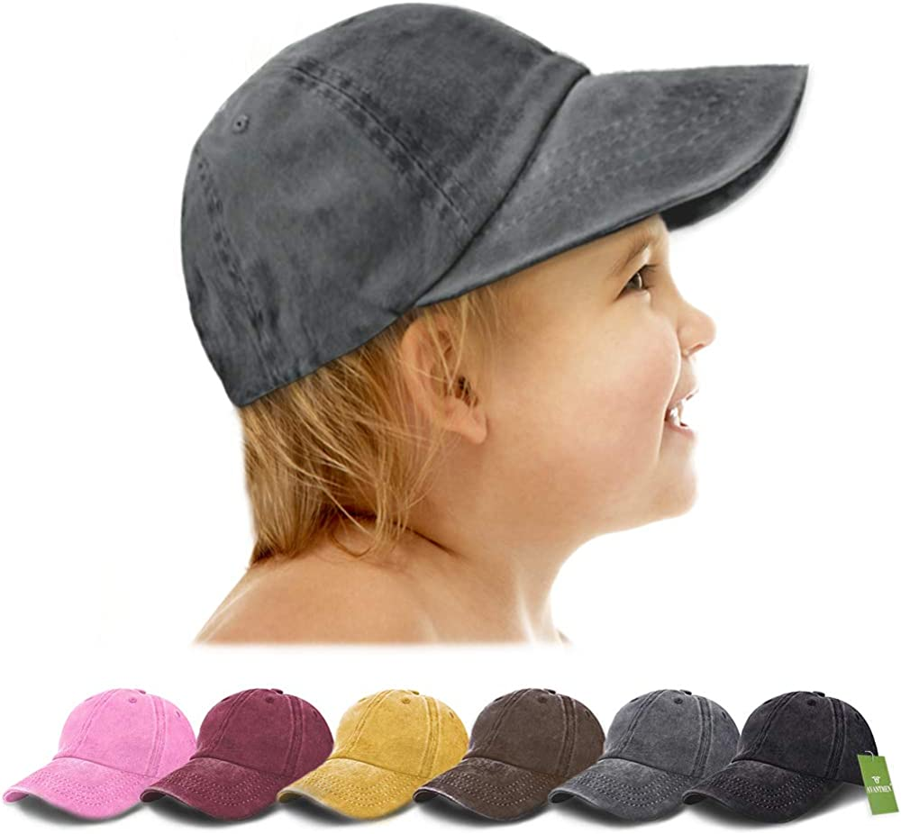 AVANTMEN Kids Baseball Cap Toddlers Distressed Washed Sunhat Baby Little Boys Girls Cotton Hat 2-7 Years