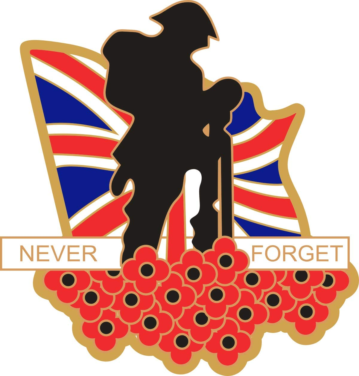 Poppy Car Window Sticker with Soldier Poppies and Union Jack