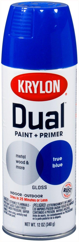 Krylon 8820-6 PK (K08820007-6 PK) Dual Gloss True Blue Paint and Primer - 12 oz. Aerosol, (Case of 6)