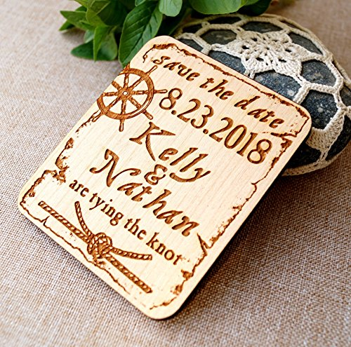 Save the date - nautical save the dates - rustic save the date magnets - beach wedding save the dates - wooden save the dates, set of 25 pc