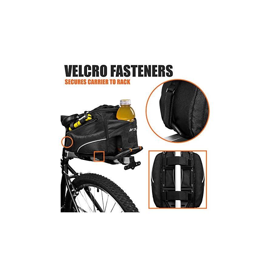 BV Bike Commuter Carrier Trunk Bag with Velcro Pump Attachment, Small Water Bottle Pocket & Shoulder Strap