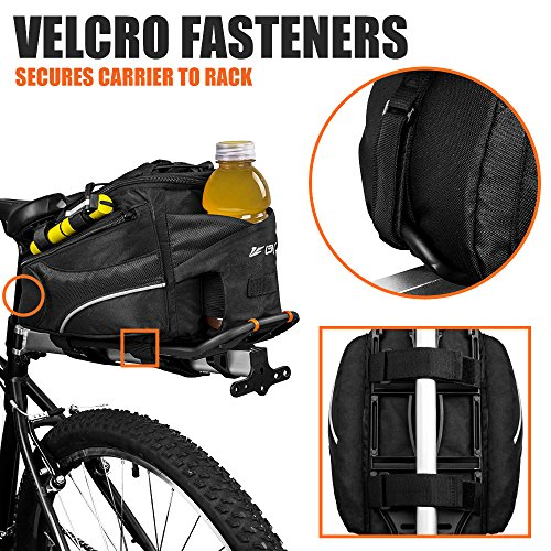 BV Bike Commuter Carrier Trunk Bag with Velcro Pump Attachment, Small Water Bottle Pocket & Shoulder Strap by BV (Image #4)