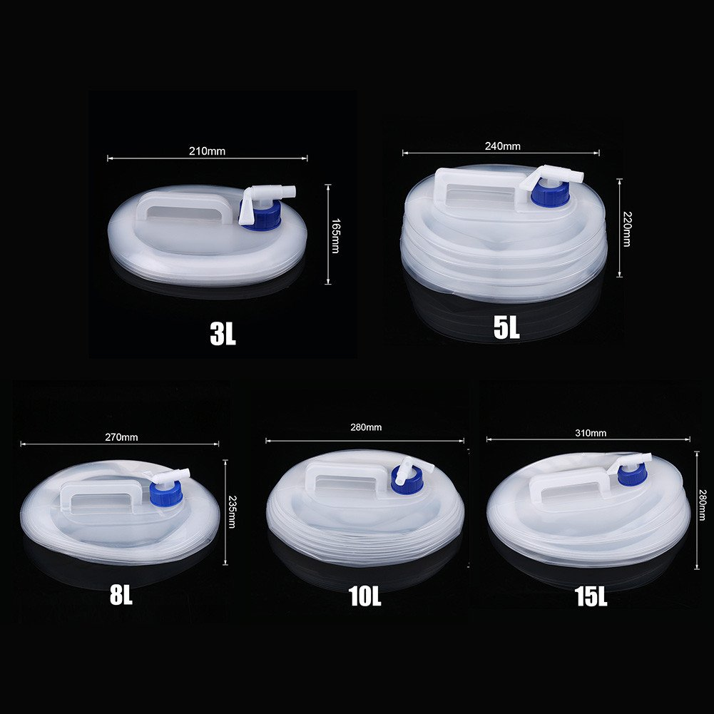 Qiilu Portable En Plein Air Voiture Camping En Plastique Pliant Seau Compressible Pliable Conteneur D'eau(10L)