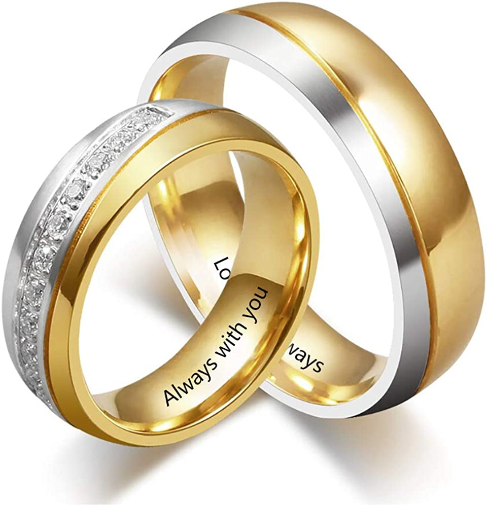 Smileface Personalised Gold Engagement Wedding Rings For Men Women Promise Rings For Couple Customised Love Crystal Jewellery Gifts 316l Stainless Steel And Engraved Text Birthday Amazon Co Uk Jewellery