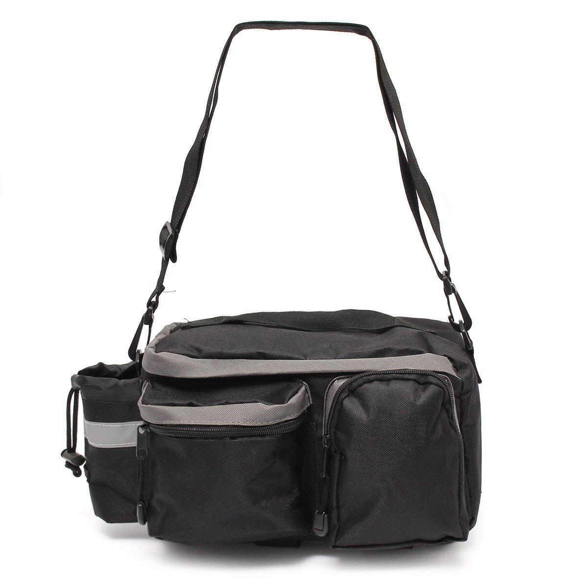 TraderPlus Bike Pannier Bag - Durable & Waterproof Nylon with Reflector Handbag | Shoulder Strap Rack Rear Trunk Tote Bag | Strong Velcro, Zipper Pockets & Bottle Case by TRADERPLUS (Image #2)