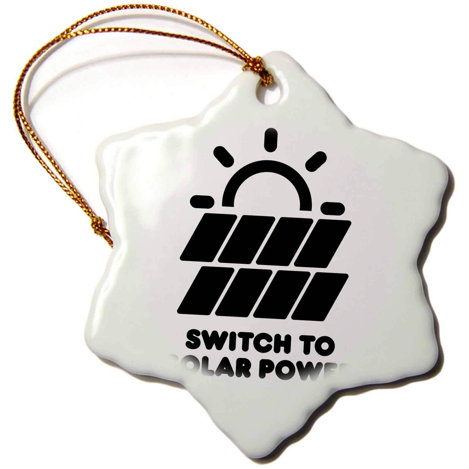 3dRose Carsten Reisinger - Illustrations - Switch to Solar Power Electric Power from The Sun Alternative Energy - 3 inch Snowflake Porcelain Ornament (ORN_294721_1)