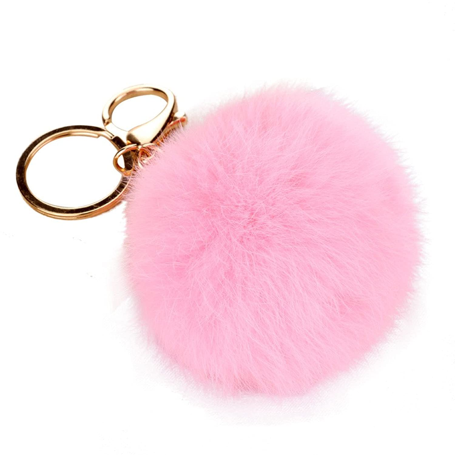 New Keychain Fur Pom Pom Key Chain Faux Pearl Rabbit Fur Hair Bulb Bag Fur Ball Pendant Key Ring For Women Girls Gifts^Keychain A
