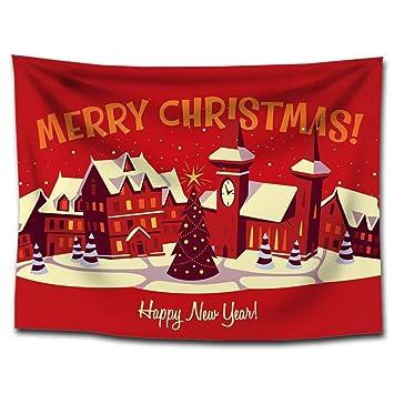 MAFYU Tapices de calidad El día de Navidad tapiz impresión cuelga mantel de decoración del hogar de toalla de tela poliester fondo paño playa: Amazon.es: ...