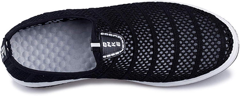 Mesh Men Shoes Hollow Light Plus Size for Male Shoes Slip On Mesh Shoes Black 8.5