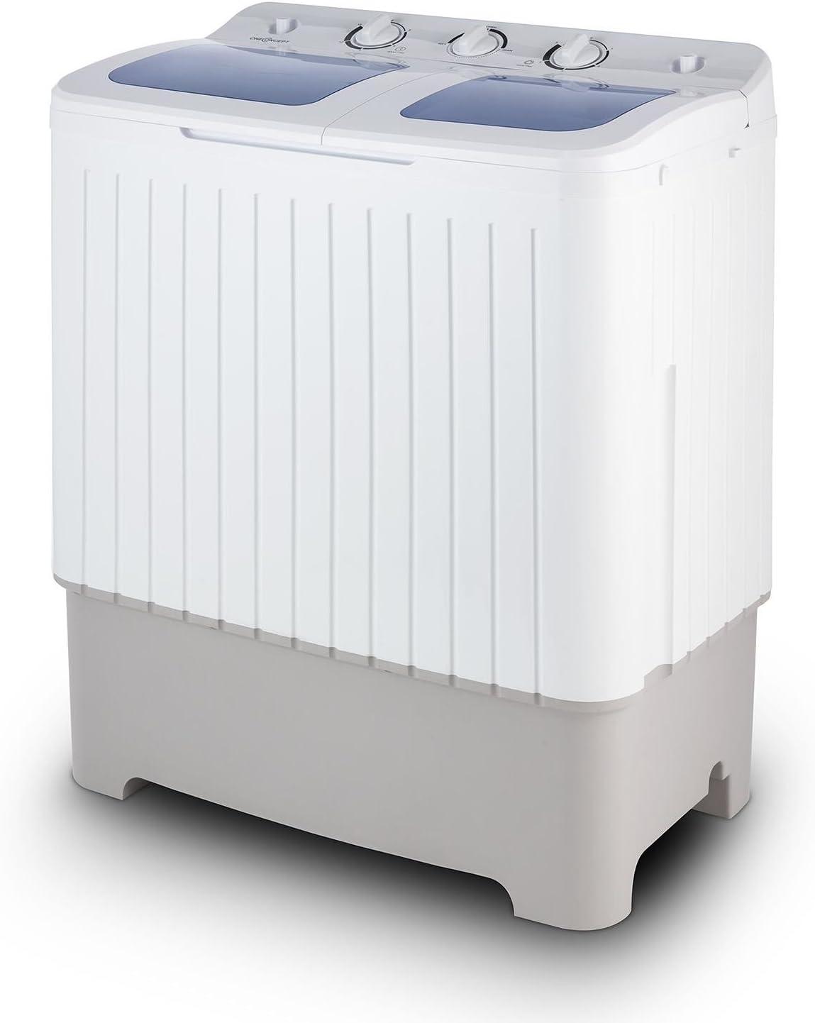 Oneconcept Ecowash XXL - Lavadora Capacidad 6.8 kg, Centrifugadora Capacidad 5.2 kg, Carga Superior, Potencia 400 W, Potencia centrífuga 150 W, Ahorro de Agua y energía, Silenciosa, Blanco