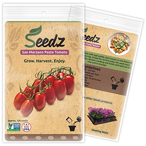 CERTIFIED ORGANIC SEEDS (Apr. 100) - San Marzano Paste Tomato - Heirloom Tomato Seeds - Non GMO, Non Hybrid Vegetable Seeds - USA (Tomato Salsa Seeds)