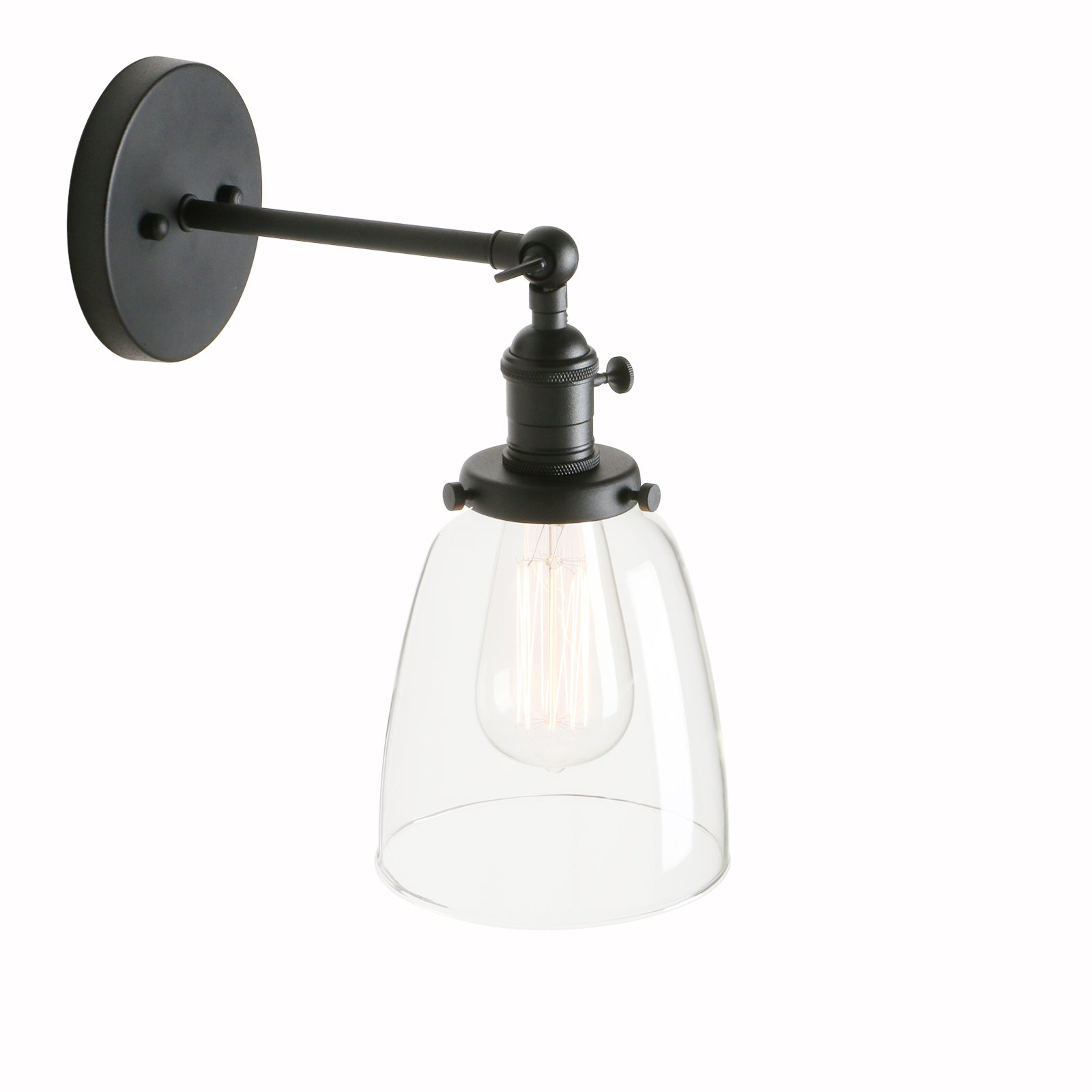 Pathson Indoor Wall Lighting Fixtures with Switch, Industrial Vintage Wall Sconce Lamp with Metal Base and Clear Glass Shade for Farmhouse Headboard Bedroom Garage Porch Cafe Club