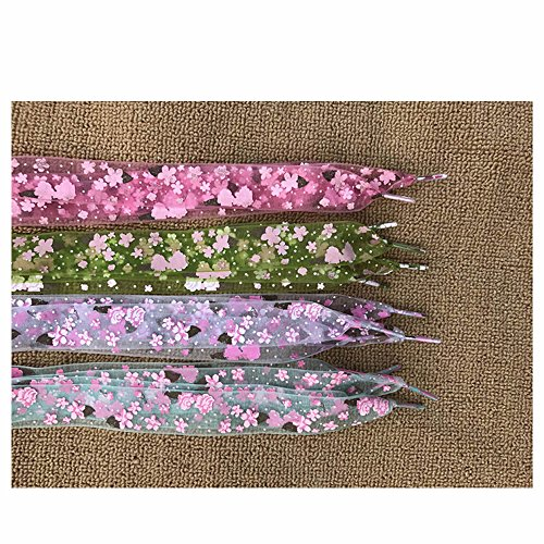 GOOTRADES 4 Pairs Flat Chiffon Shoelaces with Flower Prints for Kids, Youths & Women