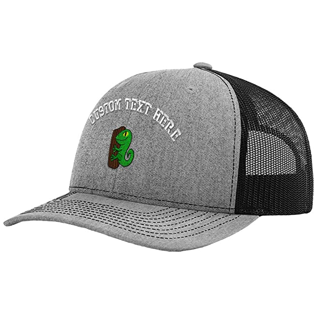 Custom Text Embroidered Kids Lizard On Log Unisex Adult Snaps Polyester  Richardson Structured Front Mesh Back 18527a8658ca