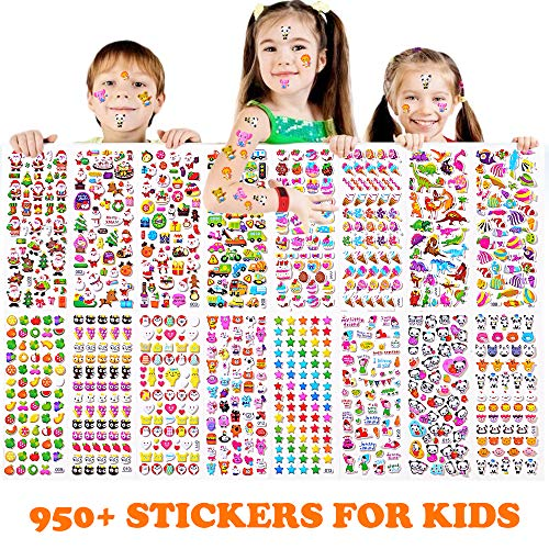 Sinceroduct Stickers 950+ pcs, Teacher Stickers for Kids,16 Different Sheets, 3D Puff Stickers, Sticker Collection Book: Animals, Fishes, Stars, Cakes, Cars, and Tons More,Christmas Stickers.