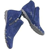 Dheera Botas femininas de camurça, com zíper lateral, sapatos casuais, vintage, fácil de colocar, sapatos de algodão…