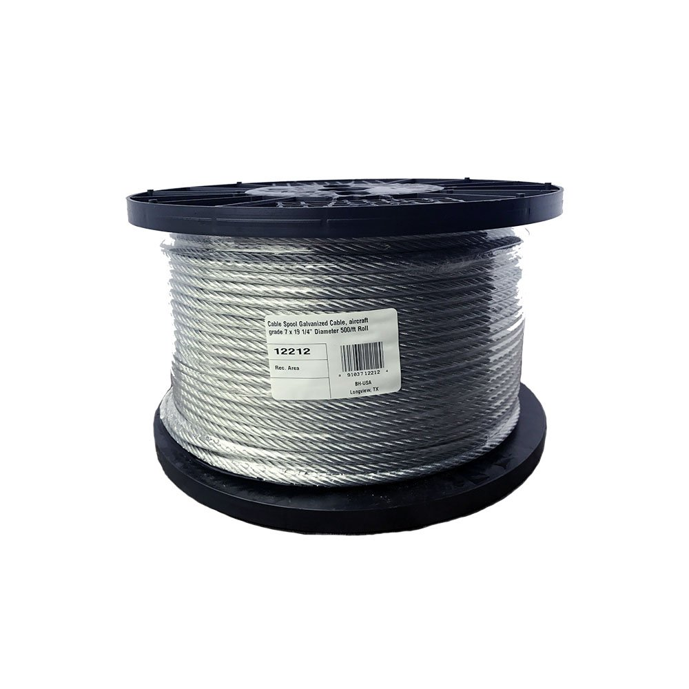 BH-USA 1/4 inch Galvanized Wire Rope Spools 500'