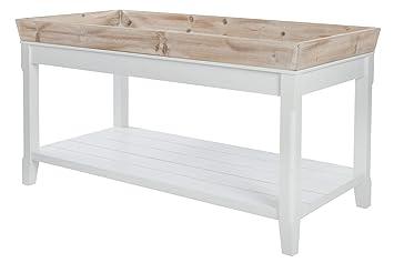 design de qualité 583d8 18cc2 Elbmöbel Table basse en bois naturel Blanc vieilli/marron ...