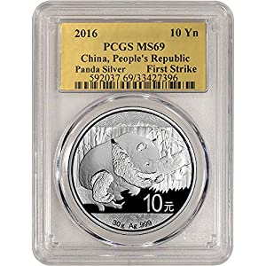 2016 CN China Silver Panda (30 g) First Strike Gold Foil Label 10 Yuan MS69 PCGS