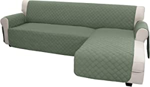 Easy-Going Sofa Slipcover L Shape Sofa Cover Sectional Couch Cover Chaise Cover Reversible Sofa Cover Furniture Protector Cover for Pets Kids Dog Cat(Large,Greyish Green/Greyish Green)