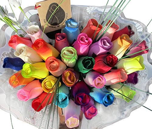 The Original Wooden Rose Assorted Colors Wooden Rose Closed bud Bouquets 3 - Assorted Rainbow Roses Dozen