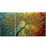 baccow -- 28''20''3 Hand Painted 3 Panels Oil Painting on Canvas Palette Knife 3D Flower Trees Paintings Framed Modern Home Decor Wall Art Painting Picture for Living Room Ready to Hang