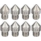 KeeYees 8 Piezas Boquilla Impresora 3D M6, 0,2 mm 0,3 mm 0,4 mm 0,5 mm Cabezales de Impresión de Acero Inoxidable para Extrusora MK8 Anet A8 / A6