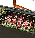 Hand-Hooked Polypropylene Machine-Washable Hollyhock Flowers Accent Rug 24 x 42
