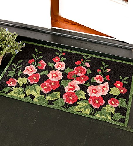 Hand-Hooked Polypropylene Machine-Washable Hollyhock Flowers Accent Rug 24 x (Flowers Hand Hooked Rug)