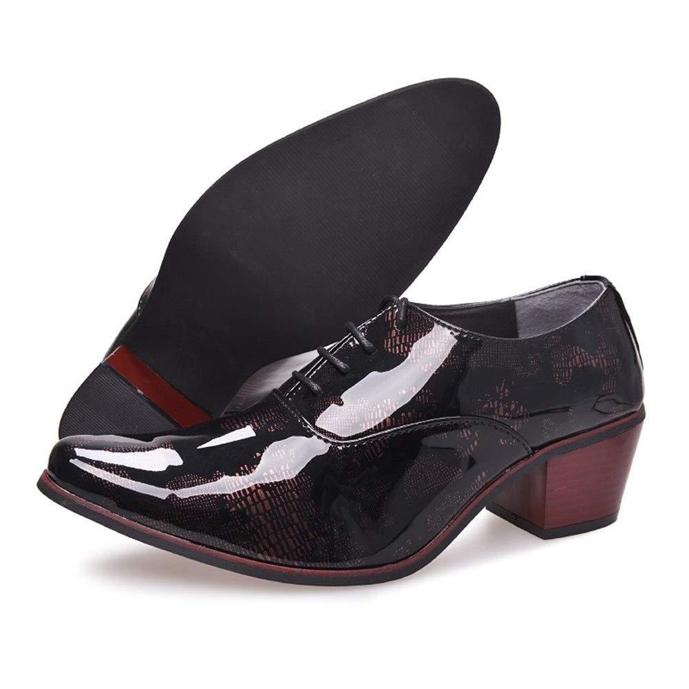 1.97Bloque de tac/ón con Cordones Punta Puntiaguda Patr/ón de Charol Antideslizante Llamativo Best-choise Oxford cl/ásico for Hombres Zapatos de Vestir al Aire Libre 5cm