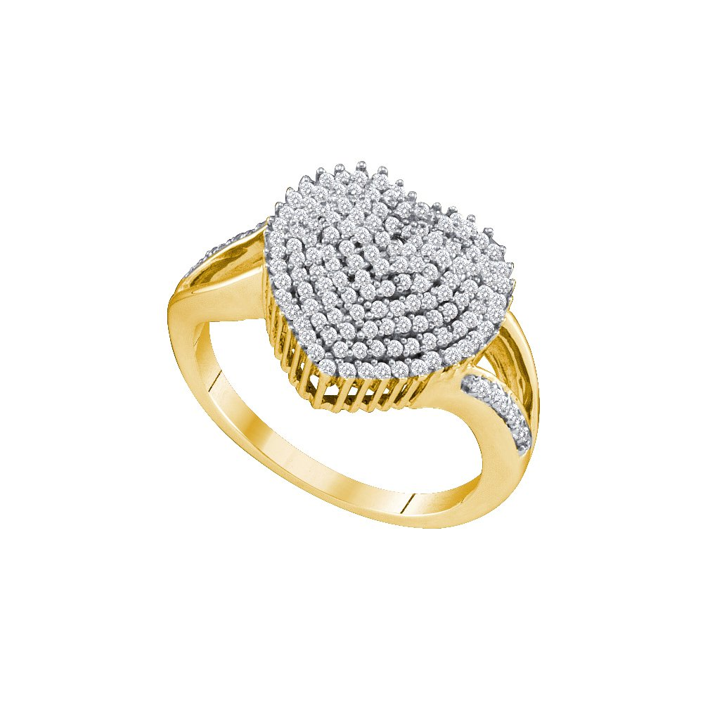10kt Yellow Gold Womens Round Diamond Heart Love Cluster Ring 1/2 Cttw (I2-I3 clarity; J-K color)