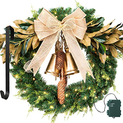 LIFEFAIR Christmas Wreath, with 75 Battery Operated LED Lights and Wreath Hanger, for Front Door Timer Included Gold Bell (Door Wreath Small Front)