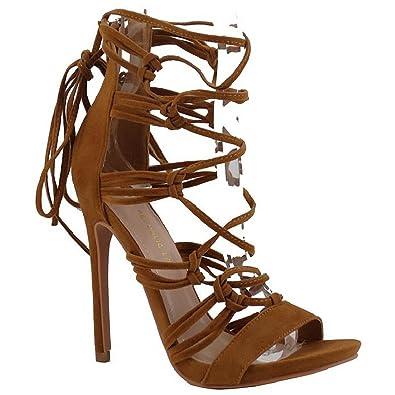 84e38c9eb6c Amazon.com | Shoe Republic LA Open Toe Sandal Strappy Stiletto High Heels  Lace up Pumps Women's Shoes | Sandals