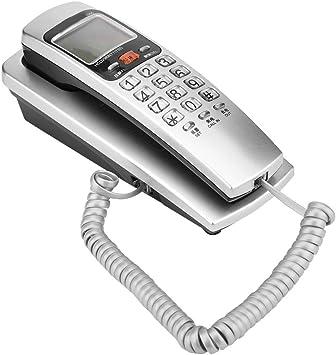 Topiky Teléfono con Cable,teléfono Fijo de Pared,teléfono Fijo con FSK/DTMF estándar, identificador de Llamadas,Altavoz,estación de extensión de Escritorio de Cable para el hogar/Oficina/Hotel(Plata): Amazon.es: Electrónica
