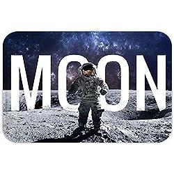 VROSELV Custom Door MatOuter Space Decor Miniature Toy Astronaut on Foreground of Giant Moon Big Bang MarPrint Grey Blue