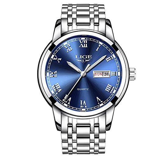 94fcd411ab LIGE Mens Watches Waterproof Stainless Steel Simple Design Analogue Quartz Watch  Men Business Casual Date Blue Wrist Watch for Men  Amazon.co.uk  Watches