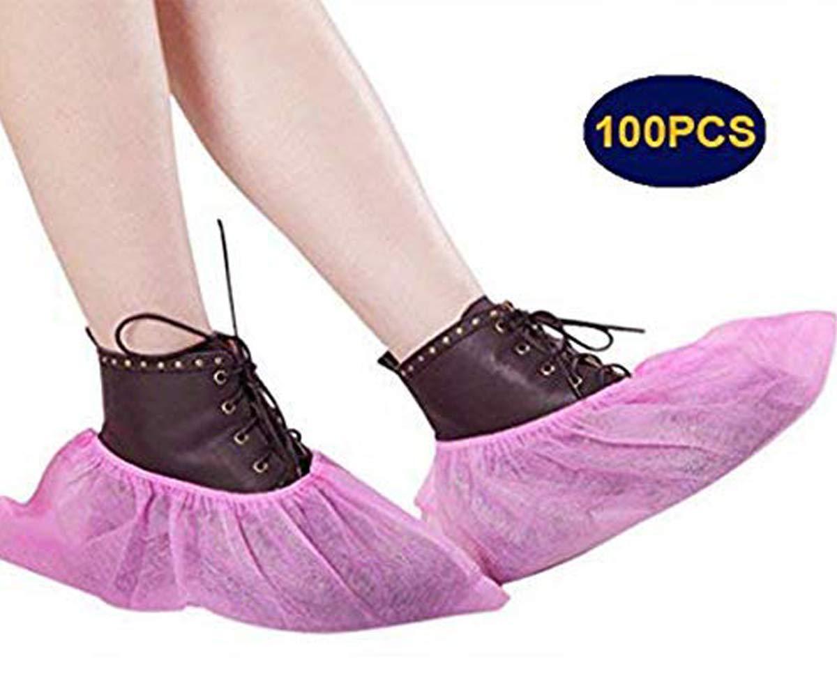 100pcs Premium desechable zapato cubierta antideslizante a prueba de polvo Overshoes/tobillo botas/zapatos cubiertas y protectores para suelo y alfombra Rosa rosa YJZQ