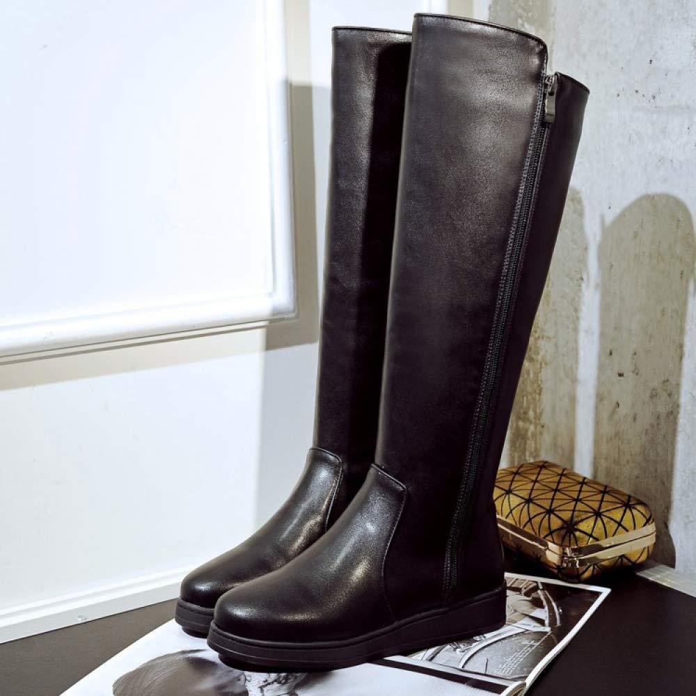AOOEL Mujeres Muslo Muslo Muslo Botas Sobre La Rodilla Senoras Oficina Plana Dimensione c16421