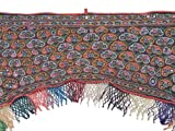 Vintage Doorway Window Topper Valance - Kutch Mirror Gate Fabric Embroidered Traditional Indian Style Toran ~ 42 Inch X 36 Inch