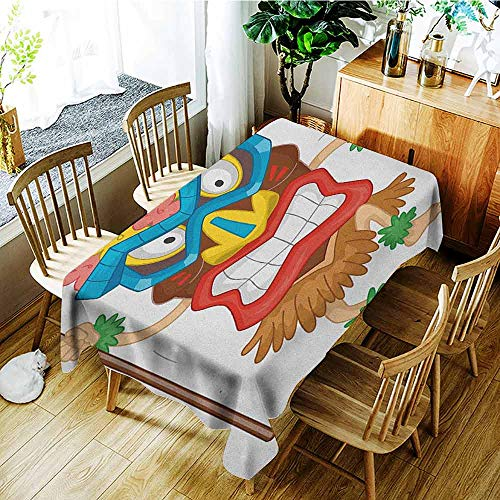 XXANS Tablecloth,Tiki Bar,Native Man Wearing a Mask Illustration Cartoon Tribal Costume Primitive Ritual,Table Cover for Kitchen Dinning Tabletop Decoratio,W54x90L Multicolor ()