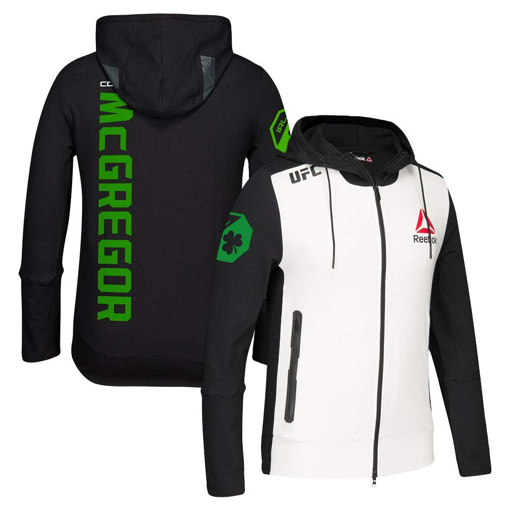 Reebok Conor Mcgregor Ufc Black White Green Fight Kit Walkout Hoodie Men S
