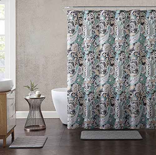 Hudson & Essex Elegant Gray Mint Green Beige Fabric Shower Curtain: Large Floral Paisley Print Design, 72