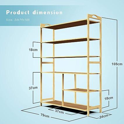 6 Ablage Schmal MDF Holz Standregal Lesfit Schuhregal Bambus Rahmen Schuhablage Multifunktion DIY Holzregal 80x26x102cm