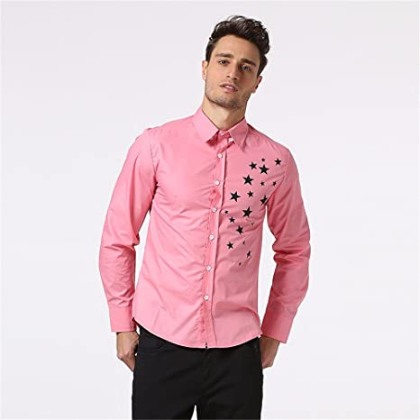 GK Hombre Camisa Moda Casual Camisa de Vestir Slim Fit Hombres camiseta sello stars moda Sau, Rosa ,XXL: Amazon.es: Deportes y aire libre