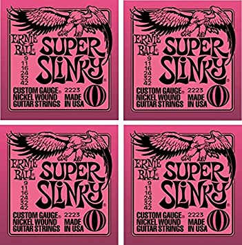 Ernie Ball Super Slinky cuerdas para guitarra eléctrica, Níquel Herida, Lot/4, p02223: Amazon.es: Instrumentos musicales