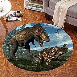 sophiehome Soft Carpet 249911638 Tyrannosaurus rex attacking einiosaurus dinosaur among onychiopsis and wollemia pine trees 3D render Anti-skid Carpet Round 72 inches