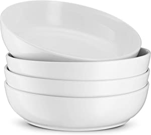 Pasta Bowls, By KooK, Ceramic Make, White, Perfect for Pastas, Salads, Desserts, Cereal, Set of 4, 32oz